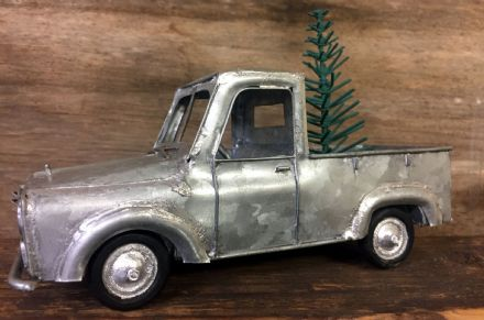 Metal Pick Up Truck with Christmas Tree Quirky Xmas Decoration